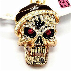 Large Bad Santa Crystal Skull Pendant Necklace